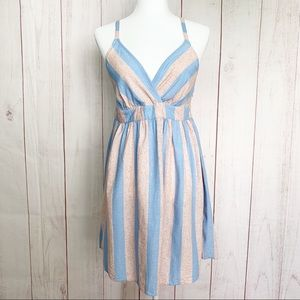 Flying Tomato NWT Pink & Blue Striped Dress